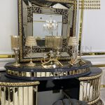 High End Carved Console With Mirror