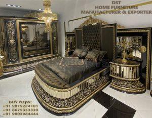 Black Gold Baroque Style Bedroom Furniture Set