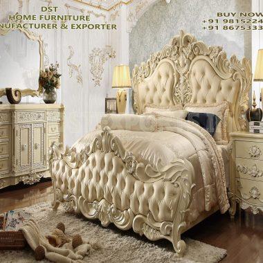 European Baroque Style 4 Piece Bedroom Furniture Set