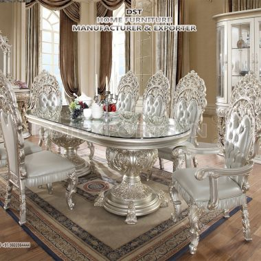 Luxurious Carved Silver Dining Table Set