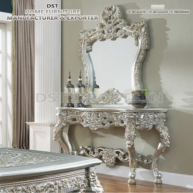 Luxurious Silver Wooden Carved Console Table