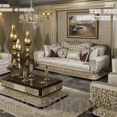 Stunning Silver Carved Living Room Furniture