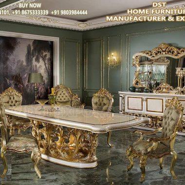 Ultra Luxurious Golden Dining Room Furniture Set