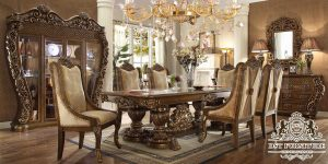 Antique Wooden Crafted Dining Room Furniture Set
