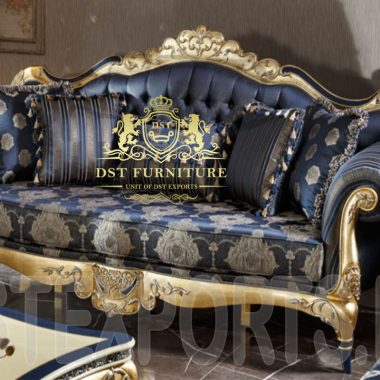 3 -seater sofa with gold polish