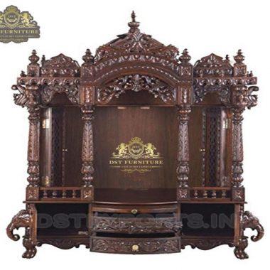 Buy Teak Wood Home Temple In Walnut Finish