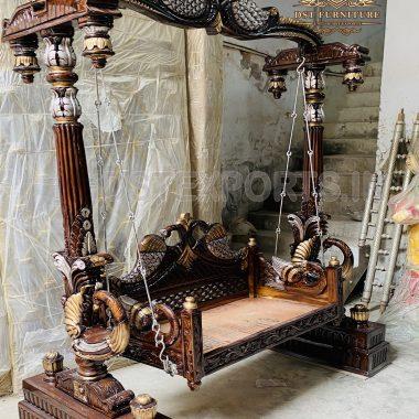 Buy Wooden Peacock Swing For Living Room 1