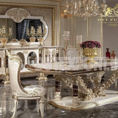 European Finish Hand Carved Dining Room Furniture