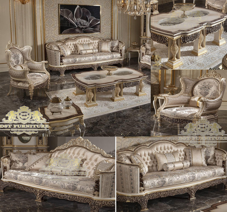 European Finish Hand Carved Living Room Sofa Set