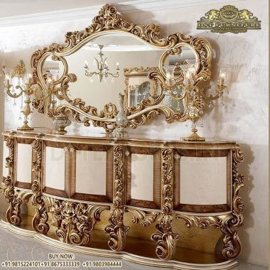 Gold Metallic Wooden Crafted Console Table & Mirror