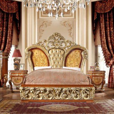 Golden King Size Double Bed & Bedroom Furniture