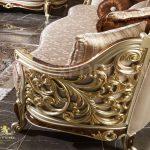 Exclusive Metallic Finish Carved Living Room Sofa Set