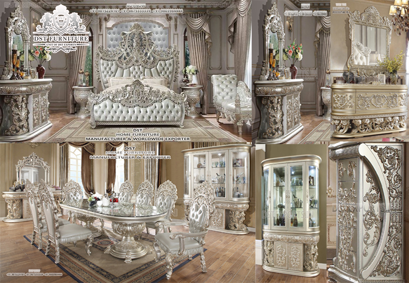 Luxurious Carved Silver King Bedroom Furniture Set