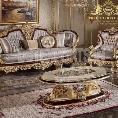 Luxurious Mansion Style Living Room Sofa Set