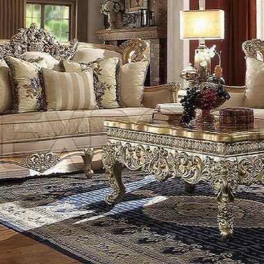 Luxury Gold Wooden Crafted Living Room Sofa Set