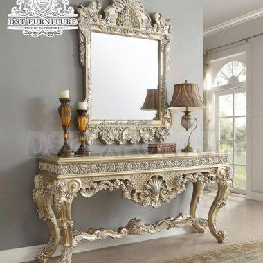 Gold Wooden Crafted Mirrored Console Table 2