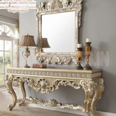Luxury Gold Wooden Crafted Mirrored Console Table