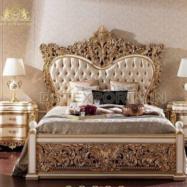 Premium Gold HandiCraft Bed & Bedroom Set