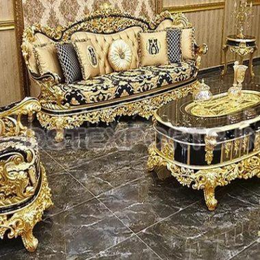 Royal Imperial Gold Carved Living Room Furniture Set