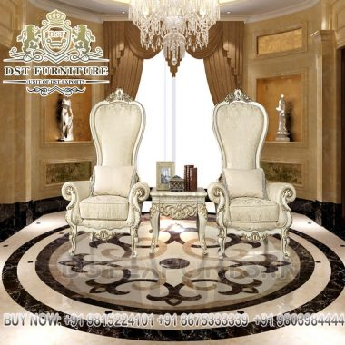 Victorian White Hand Carved Accent Chairs Set