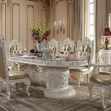 Victorian White Hand Carving Royal Dining Room Furniture