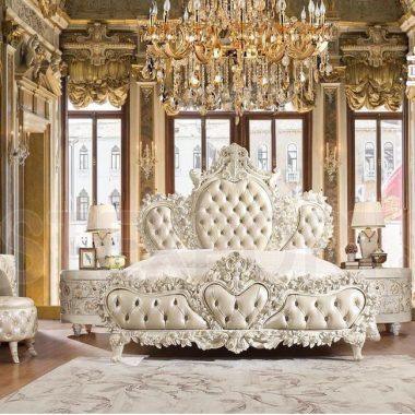 White Carved King Queen Master Bedroom Furniture