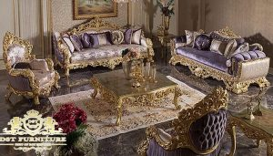 Baroque Style Gold Carved Sofa Set For Home