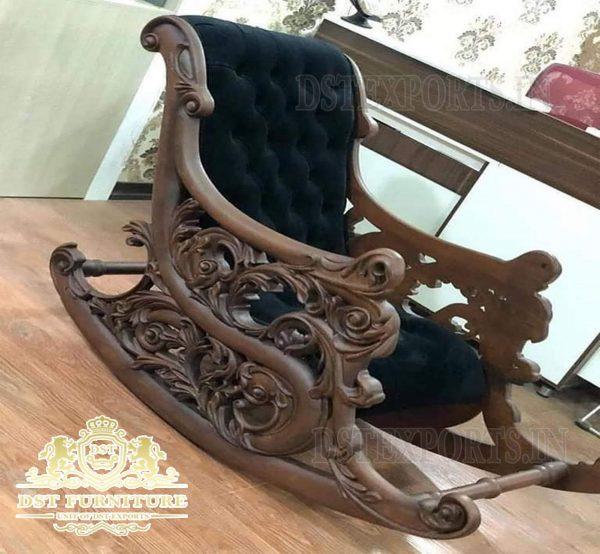 Brown Teak Wood Antque Rocking Chairs