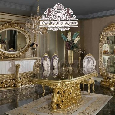 Classic Gold Silver Wooden Dining Room Table Set