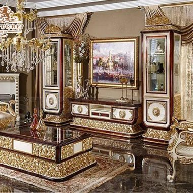 Classical Italian Carved TV Showcase For Living Room