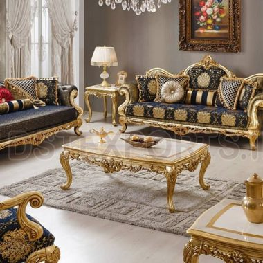 Elegant Black Gold Handmade Living Room Sofa Set