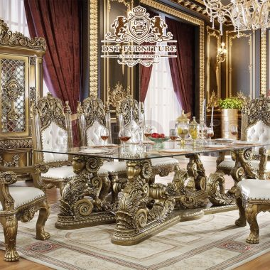 European Baroque Style Antique Dining Room Furniture Set