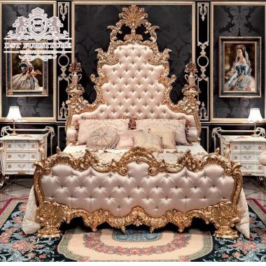 European High Back Carved Bed with Side Table