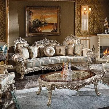 European Silver Carved Luxury Living Room Furniture