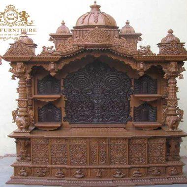 Exquisite Brown Finish Wooden Temple/Pooja Mandir
