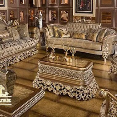 French Style Metallic Finish Living Room Furniture