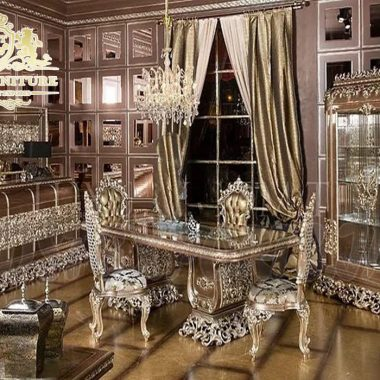 French Style metallic Finish Dining Room Furniture
