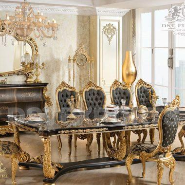 Imperial Antique Black & Gold Dining Room Furniture