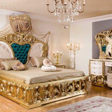 Italian White & Gold Leaf Carved Bedroom Furniture