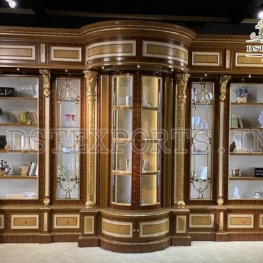 Luxury Carved Big Glass Display Cabinet