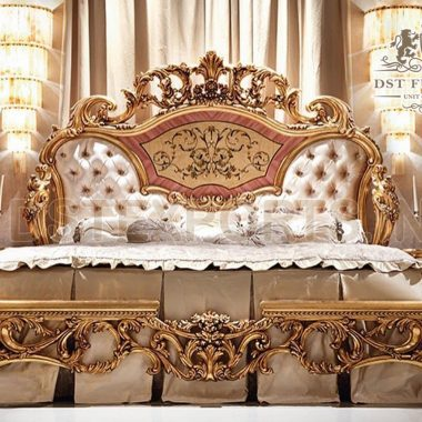 Royal Gold Carving Bed & Nightstands