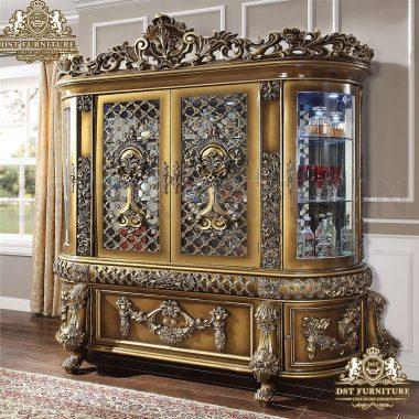 Teak Wood Storage Cabinet Curio In Antique Style