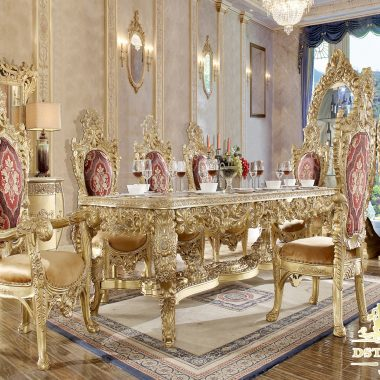 Traditional Carved Regal Style Dining Table Set