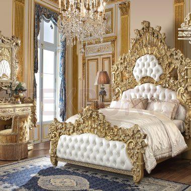 Traditional Golden Crafted Bedroom furniture Set