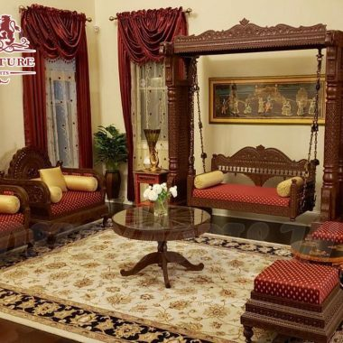 Unique Living Room Carved Swing & Sofa Set