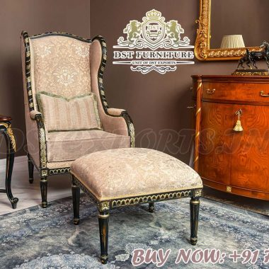 Buy Wooden Carved Accent Chair with Stool