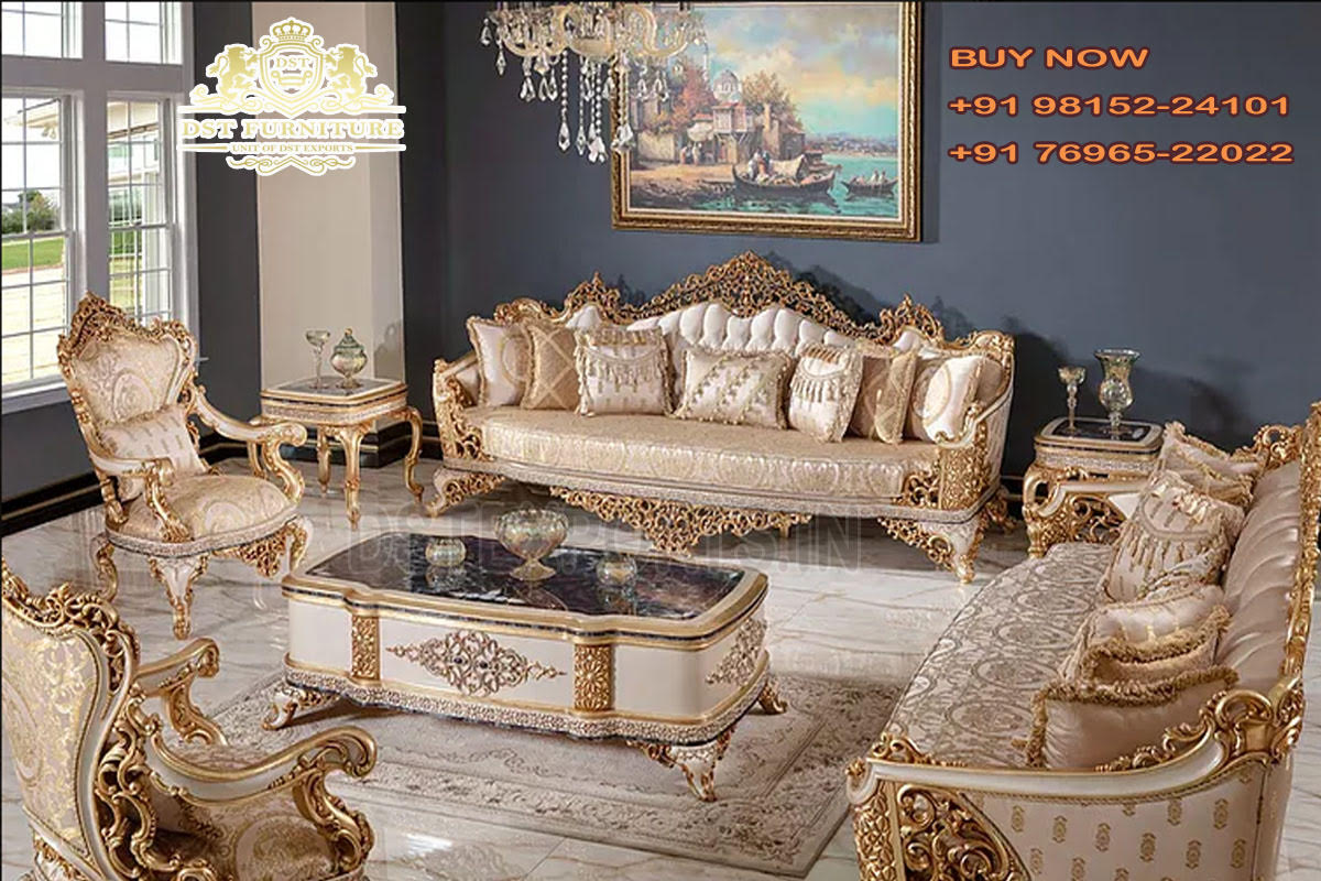 Classical Wooden Sofa Set For Living Room