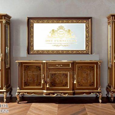 Designer Hand Carved TV Stand With Displays