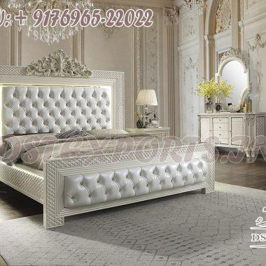 Elegant Wooden Carved White Bedroom Furniture Set