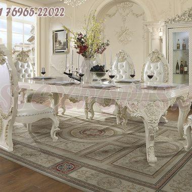 Elegant Wooden Carved White Dining Furniture Set
